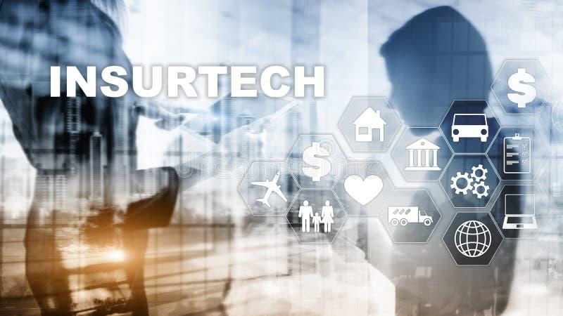 Conceito de Insurtech da tecnologia do seguro Inscrição em uma tela virtual ilustração royalty free