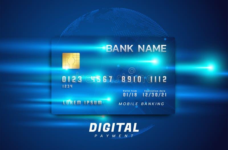 conceito de Internet banking Pagamento on-line, transação via cartão de crédito Tecnologia digital ilustração do vetor