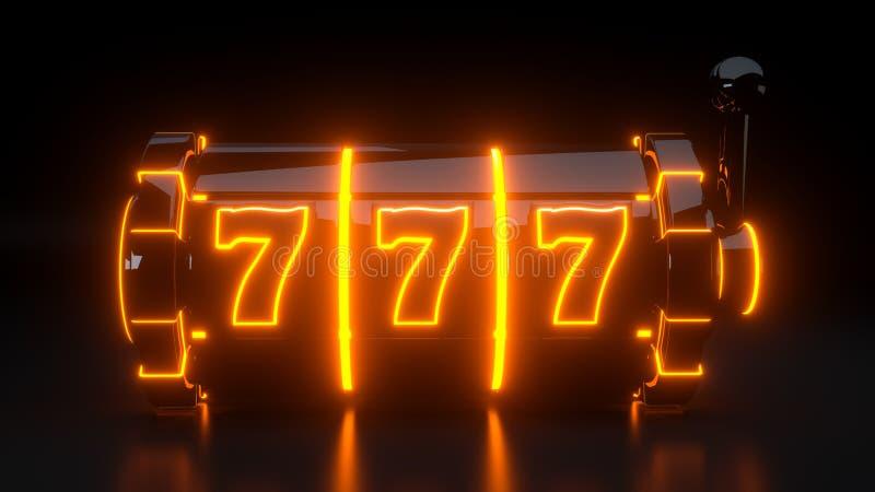Conceito de jogo com luzes de néon - do casino do slot machine ilustração 3D ilustração do vetor