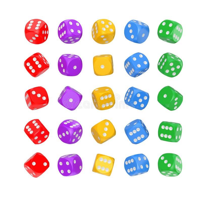 Conceito de jogo do casino Ajuste do jogo Multicolour cortam cubos na posição de Differetn rendição 3d foto de stock