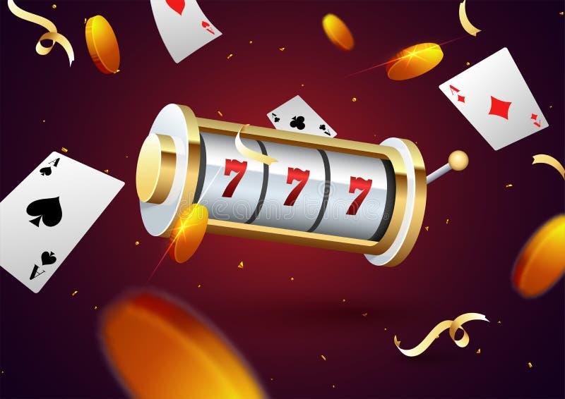 Conceito de jogo do partido da noite com 3d o slot machine, moedas douradas ilustração do vetor