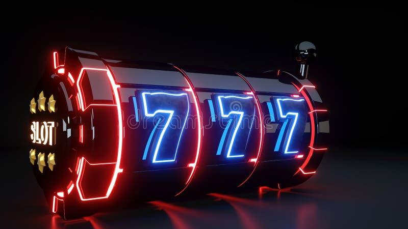 Conceito de jogo do slot machine do casino com as luzes de néon isoladas no fundo preto - ilustração 3D ilustração royalty free
