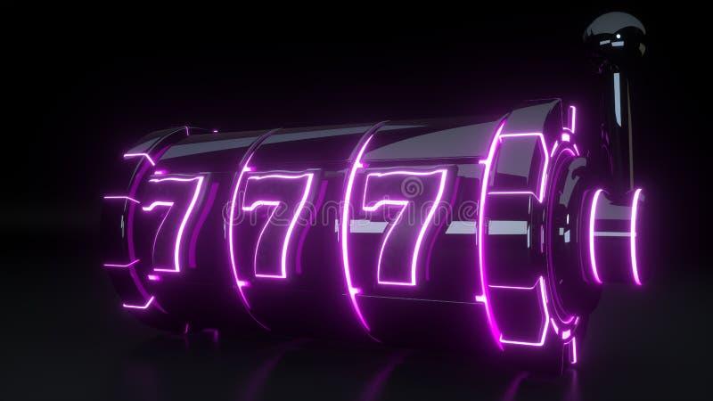 Conceito de jogo do slot machine do casino com as luzes roxas de néon isoladas no fundo preto - ilustração 3D ilustração do vetor