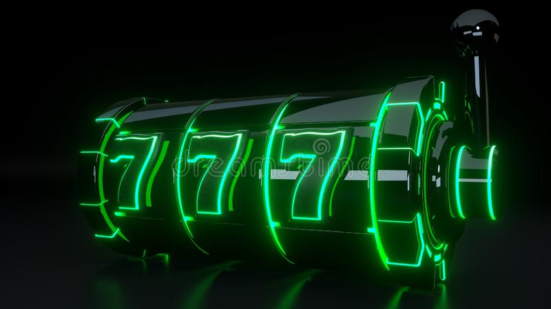 Conceito de jogo do slot machine do casino com as luzes verdes de néon isoladas no fundo preto - ilustração 3D ilustração do vetor