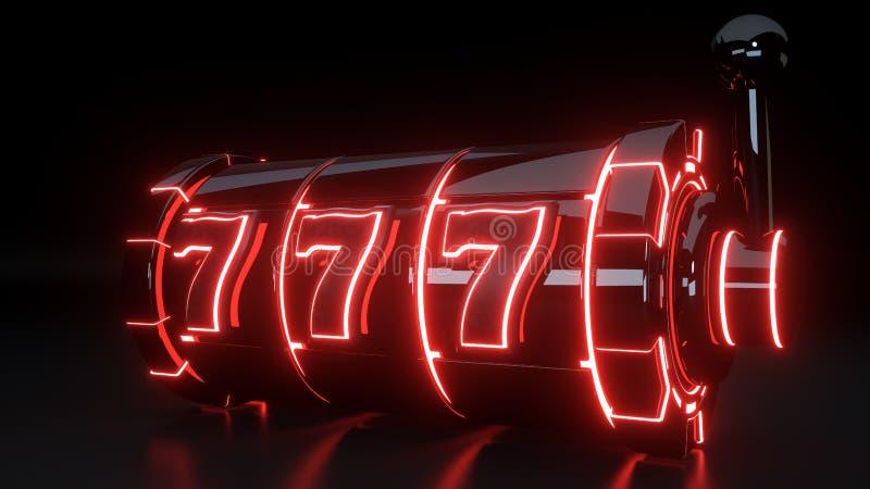 Conceito de jogo do slot machine do casino com as luzes vermelhas de néon isoladas no fundo preto - ilustração 3D ilustração do vetor