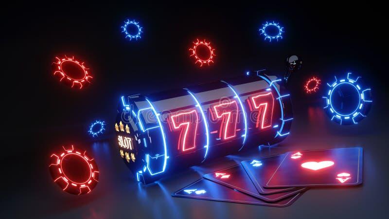 Conceito de jogo do slot machine do casino com a de n?on de incandesc?ncia isolada no fundo preto - ilustra??o 3D ilustração stock