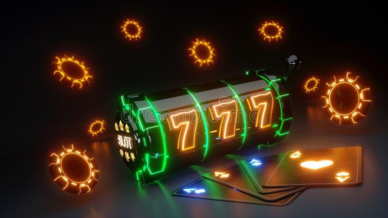 Conceito de jogo do slot machine do casino e Chips With Glowing Neon Isolated no fundo preto - ilustração 3D ilustração royalty free