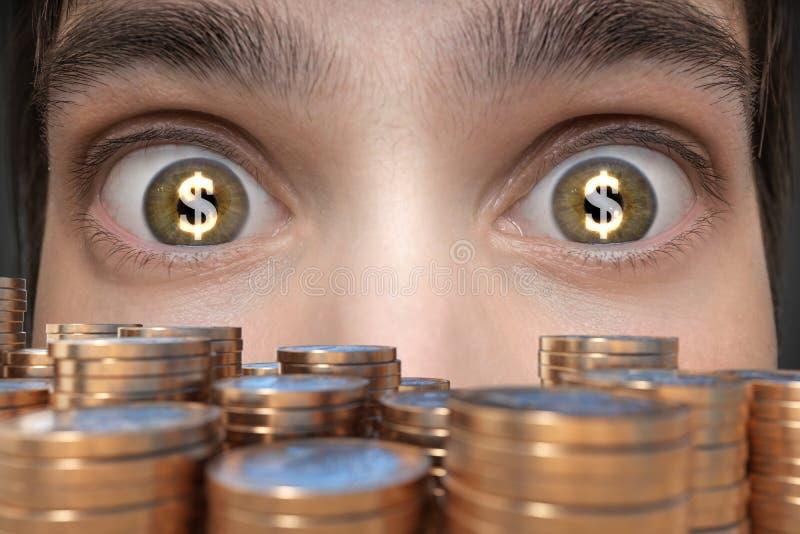 Conceito de jogo O homem novo vê muito dinheiro e tem o dólar assina dentro seus olhos fotos de stock