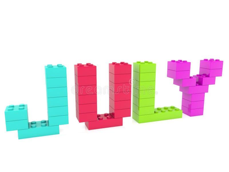 Conceito de julho construído dos tijolos do brinquedo ilustração do vetor