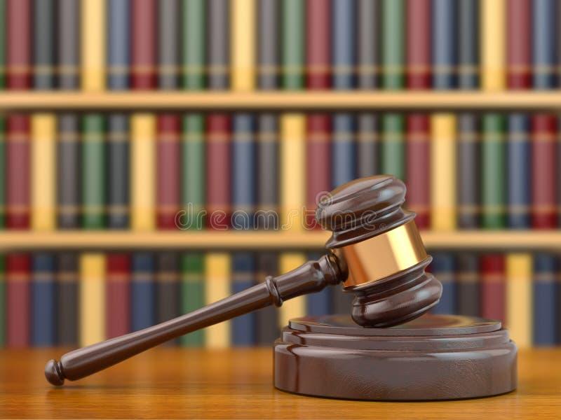 Conceito de justiça. Martelo e livros de lei. ilustração stock
