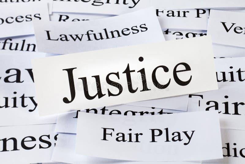 Conceito de justiça nas palavras fotografia de stock royalty free