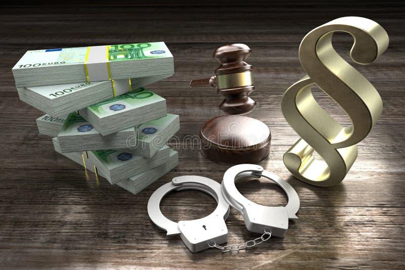 Conceito de lei 3D - algemas, armas, dólares, gavel, sinal de parágrafo ilustração do vetor