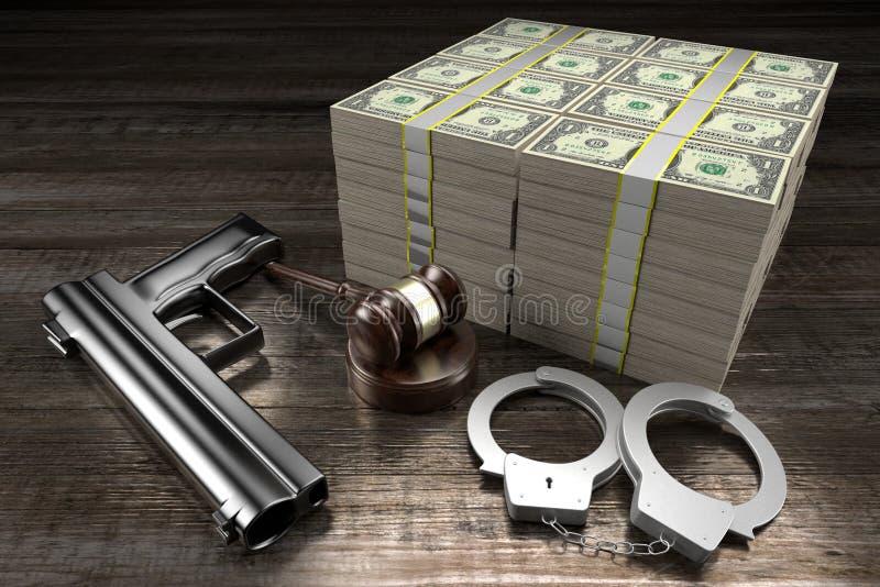 Conceito de lei 3D - algemas, armas, notas de um dólar ilustração do vetor