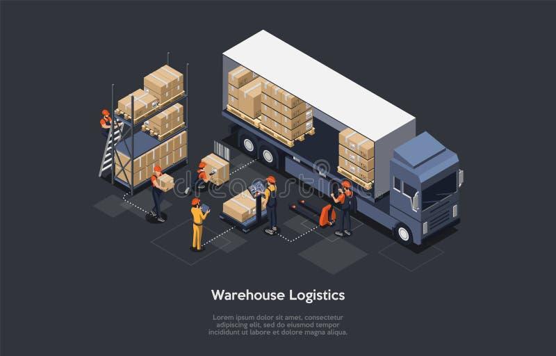 Conceito de logística do depósito isométrico moderno interior do armazém, processo de carga e descarga dos veículos de entrega ilustração royalty free