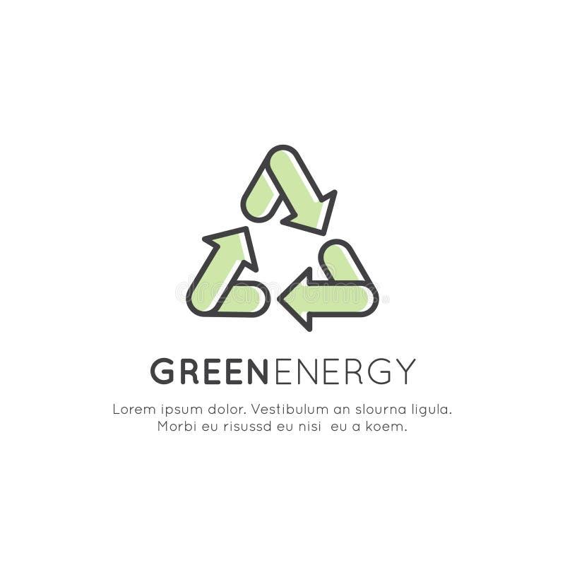 Conceito de Logo Set Badge Recycling Ecological ilustração royalty free