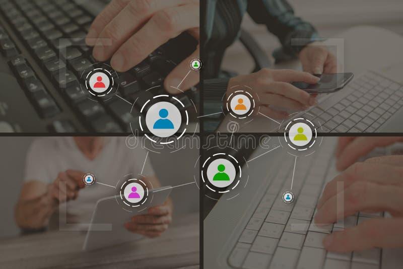 Conceito de mídia social e de trabalho em equipe ilustração stock