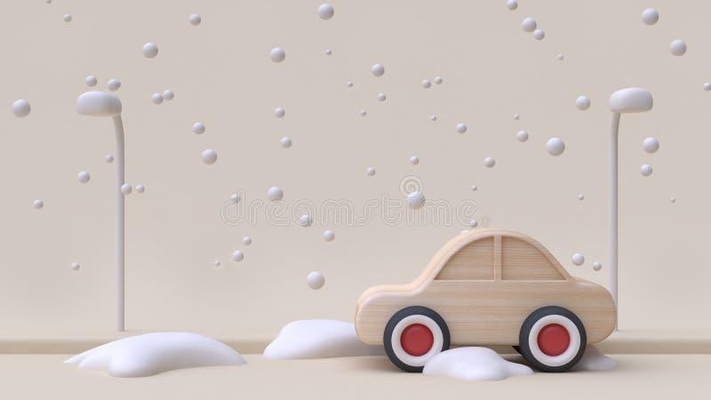 Conceito de madeira do ano novo da neve do inverno do estilo dos desenhos animados do brinquedo do carro abstrato na estrada com  ilustração royalty free