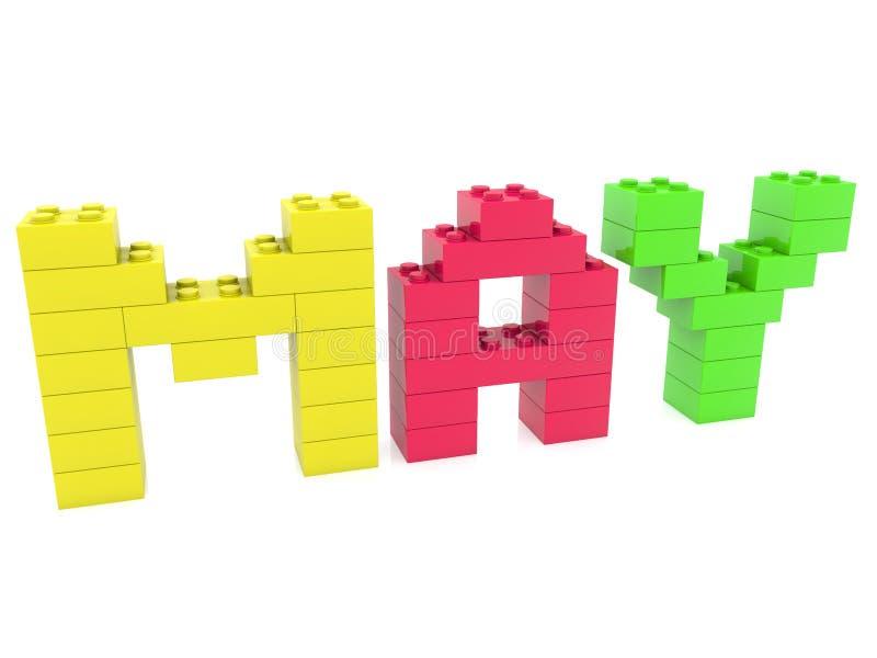 Conceito de maio construído dos tijolos do brinquedo ilustração do vetor