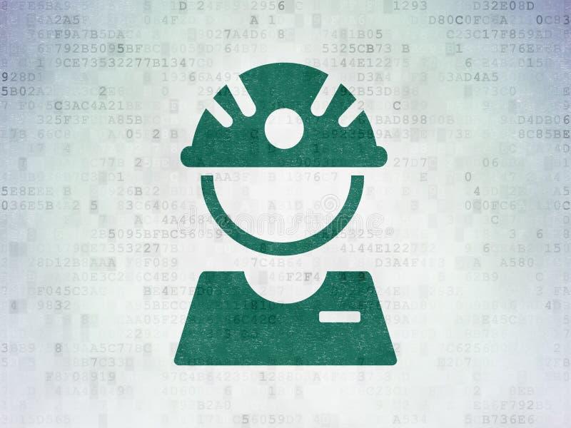 Conceito de Manufacuring: Operário no fundo do papel dos dados de Digitas ilustração royalty free