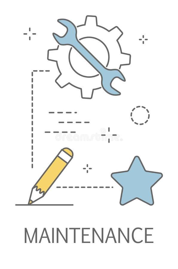 Conceito de manutenção Desenvolvimento e projeto do página da web ilustração do vetor