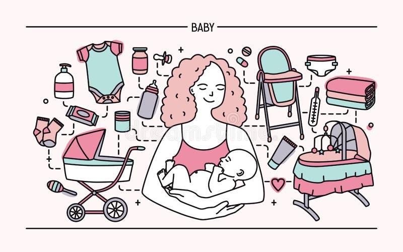 Conceito de maternidade Bandeira horizontal com mãe e bebê, acessórios diferentes das crianças s Linha vetor colorido da arte ilustração stock