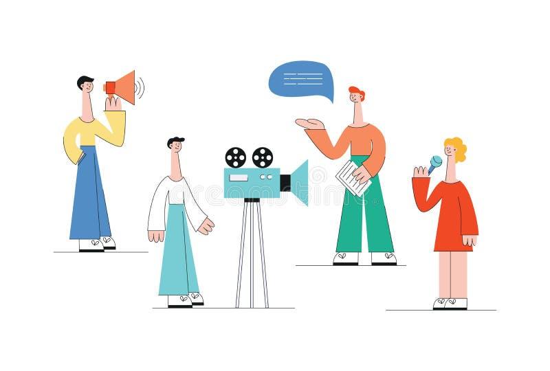Conceito de mercado video da Web Um grupo ou uma equipe dos povos, homens e mulheres, fazem um vídeo com uma câmera ilustração royalty free