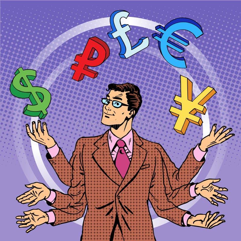 Conceito de mnanipulação do negócio de dinheiro do homem de negócios ilustração royalty free