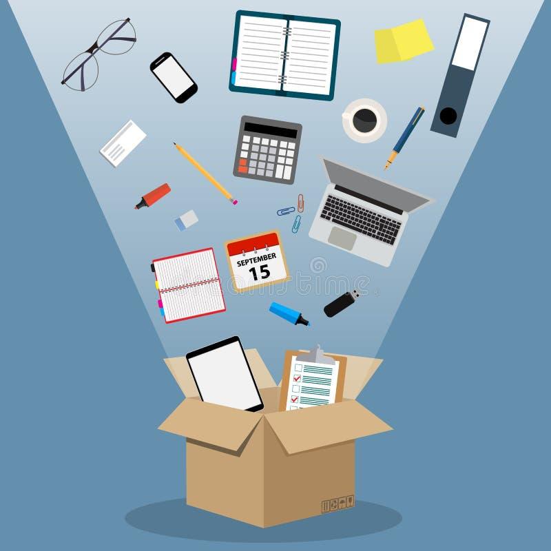 Conceito de mover-se em um escritório novo, ilustração stock