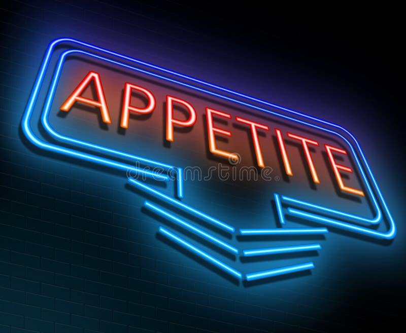 Conceito de néon do apetite ilustração stock