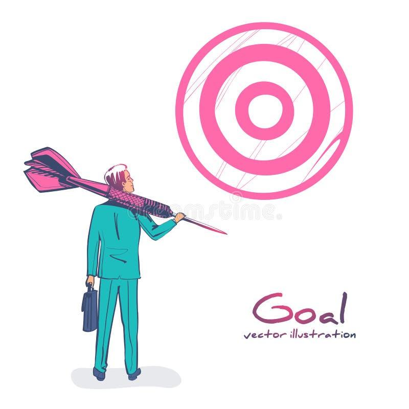 Conceito de negócios de objetivo O empresário com lança à mão olha para o alvo ilustração stock
