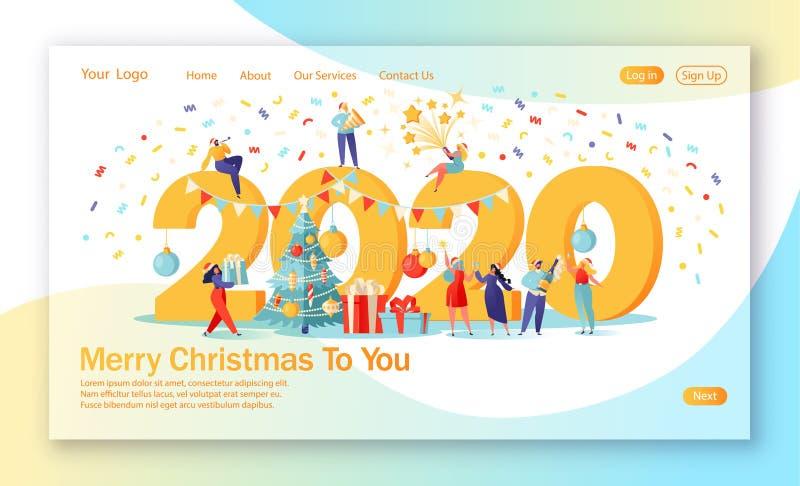 Conceito de página inicial sobre tema de comemoração do Ano Novo ilustração do vetor