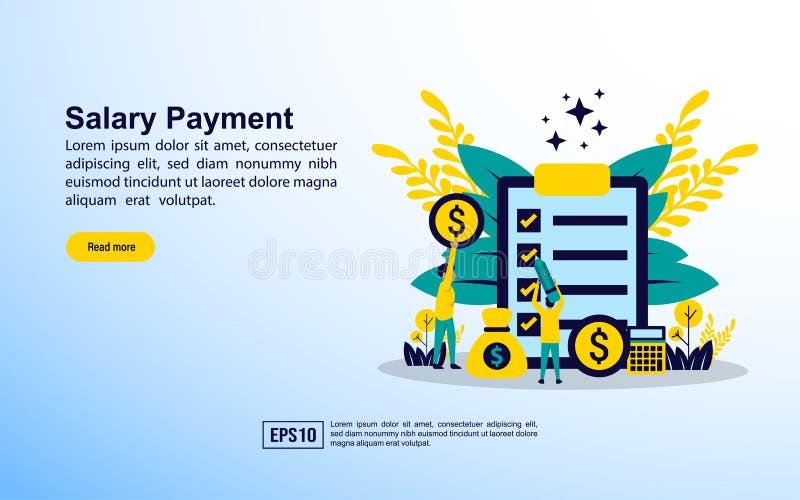 Conceito de pagamento de salário com ícone e caráter Modelo para página inicial da Web, faixa, apresentação, mídia social, cartaz ilustração royalty free