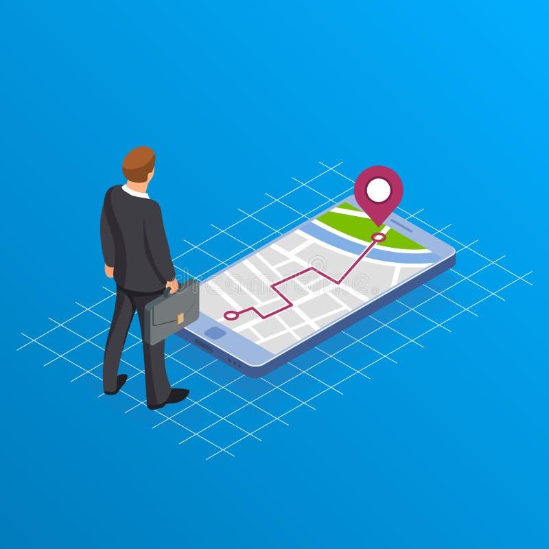 Conceito de pavimentar a maneira no negócio O homem de negócios ou o gerente com uma mala de viagem estão estando perto do telefo ilustração stock