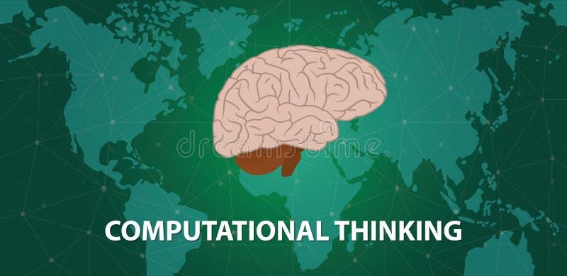 Conceito de pensamento computacional com o cérebro principal humano sobre o mapa do mundo com fundo do mapa do mundo do Cyberspac ilustração royalty free