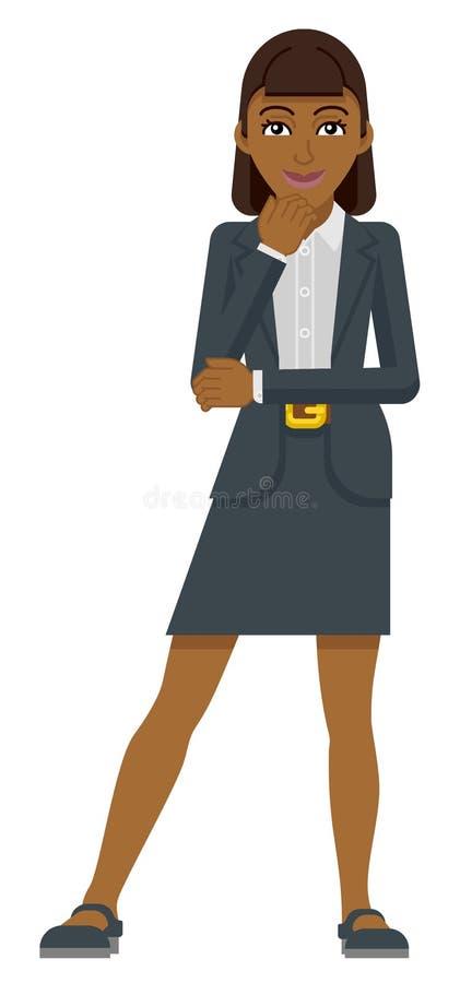 Conceito de pensamento da mascote da mulher de negócio ilustração do vetor