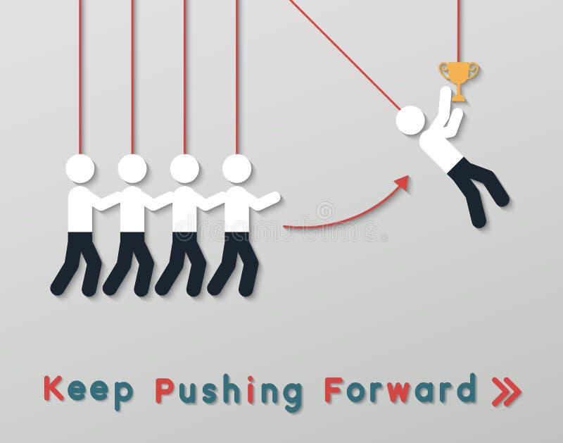 Conceito de pensamento positivo do negócio dos trabalhos de equipa ilustração do vetor