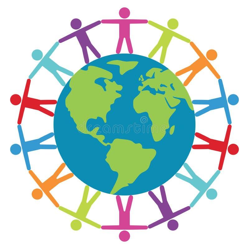 Conceito de pessoas em todo o mundo, de paz ou de curso ilustração stock