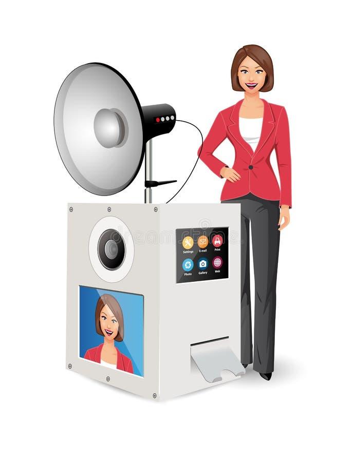 Conceito de Photobox - câmera da foto com flashlamp - fabricante do selfie ilustração royalty free