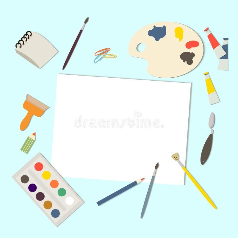 Conceito de pintura dos elementos das ferramentas Fontes armação da arte, lona do papel, tubos da pintura, escovas, aquarela Ilus ilustração stock