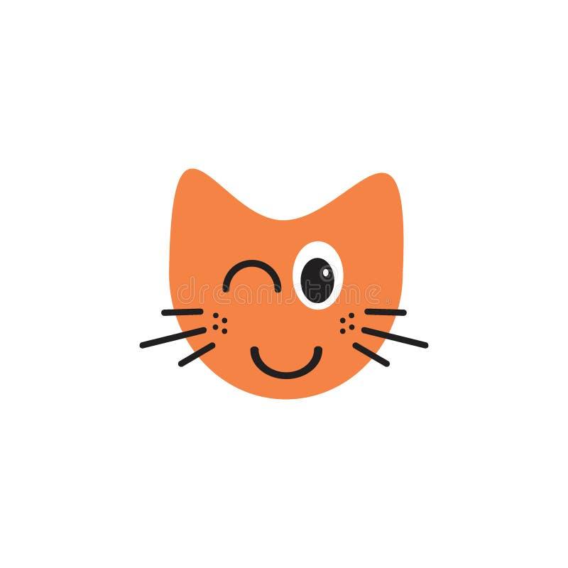 Conceito de piscamento do logotipo da ilustração do emoticon do gato ilustração do vetor