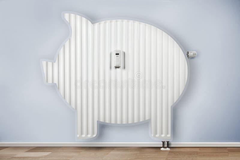 Conceito de poupança de energia, radiador no formulário Economia de custos imagem de stock