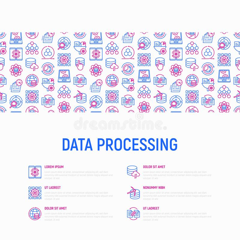 Conceito de processo de dados com linha fina ícones ilustração stock