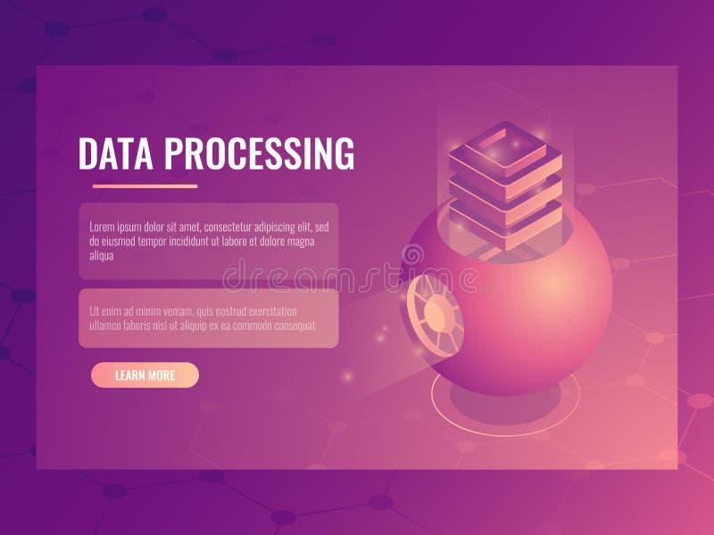 Conceito de processo de dados grande, armazenamento futurista abstrato da nuvem, sala do servidor, base de dados, vetor isométric ilustração do vetor
