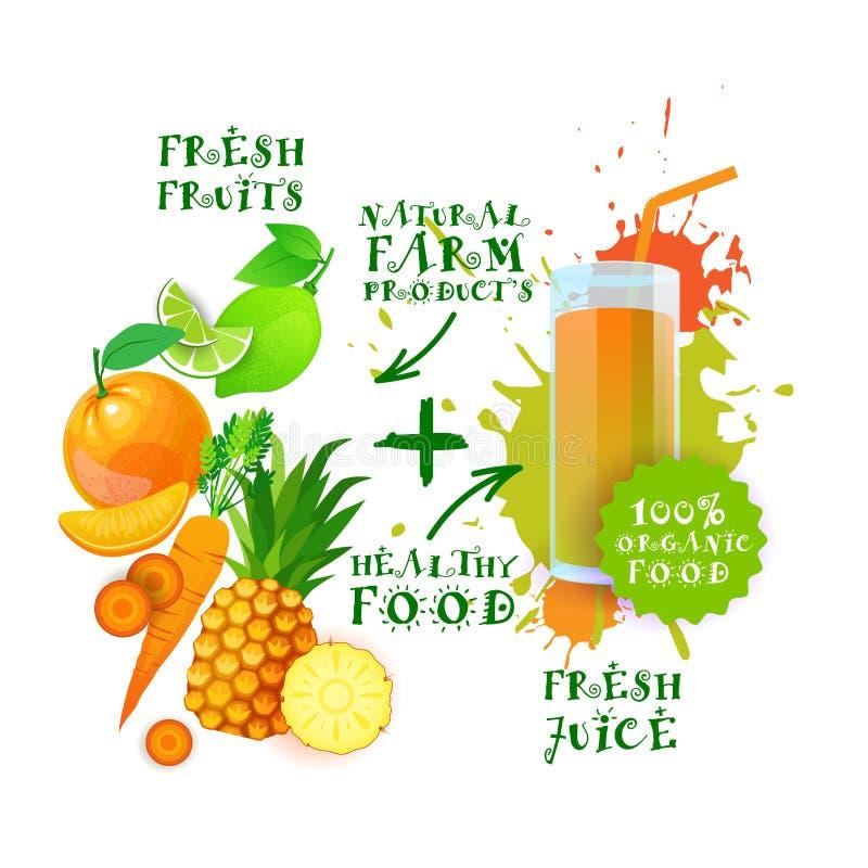 Conceito de produtos agrícolas saudável de Juice Cocktail Logo Natural Food dos frutos frescos ilustração stock