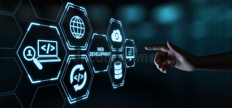 Conceito de programação do negócio da tecnologia do Internet da codificação do desenvolvimento da Web imagens de stock