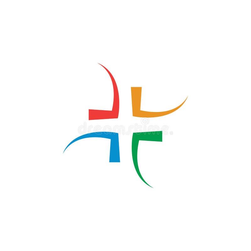 Conceito de projeto abstrato do logotipo da cruz dos cuidados médicos ilustração do vetor
