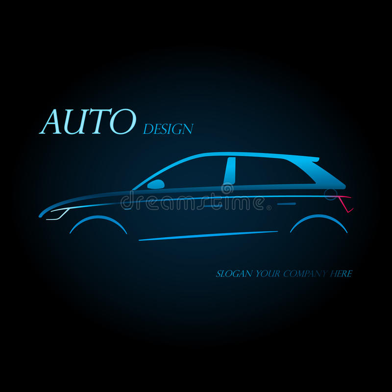 Conceito de projeto com o carro com porta traseira do azul dos esportes ilustração do vetor