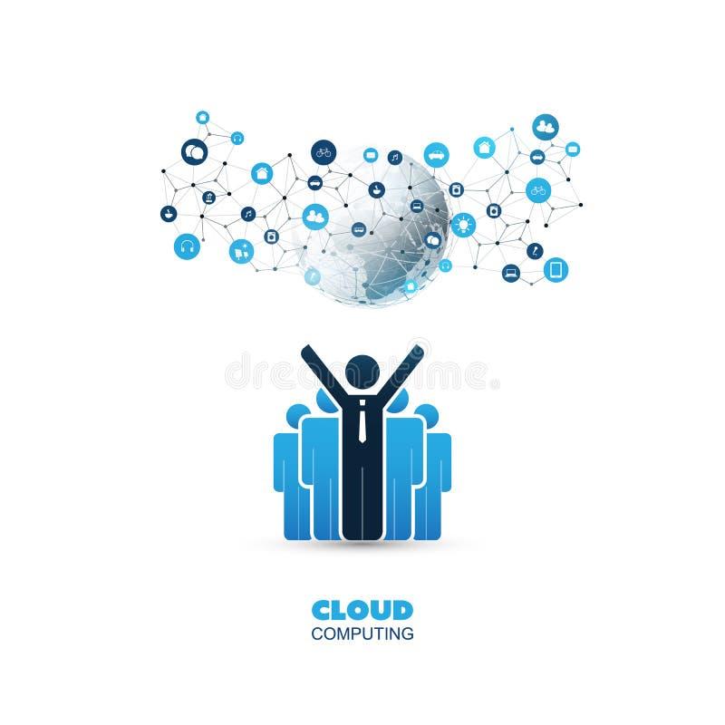 Conceito de projeto de computação da nuvem com estar homens de negócio e ícones felizes - conexões de rede de Digitas, fundo da t ilustração royalty free
