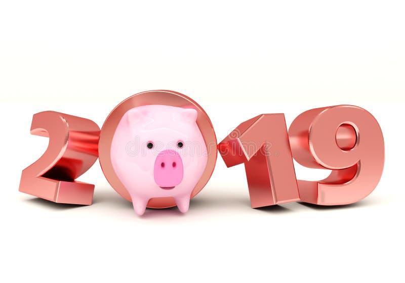 Conceito de projeto creativo Fundo festivo para insetos, convites e cartões sazonais Ano novo do porco, calend 2019 ilustração do vetor