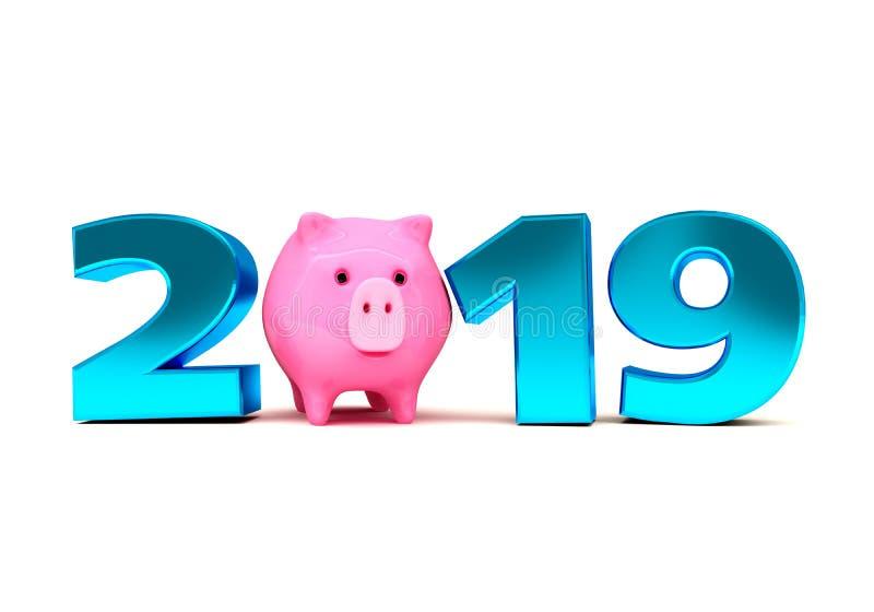 Conceito de projeto creativo Fundo festivo para insetos, convites e cartões sazonais Ano novo do porco, calenda 2019 ilustração do vetor